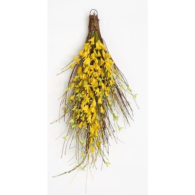 26 in. Forsythia Twig Teardrop in Yellow