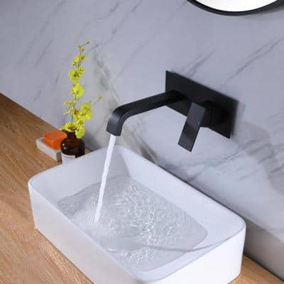 Single-Handle Wall Mount Bathroom Faucet for Vessel Sink with Deck plate in Matte Black