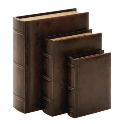 Vintage Rectangular Wood and Synthetic Leather Book Boxes (Set of 3)