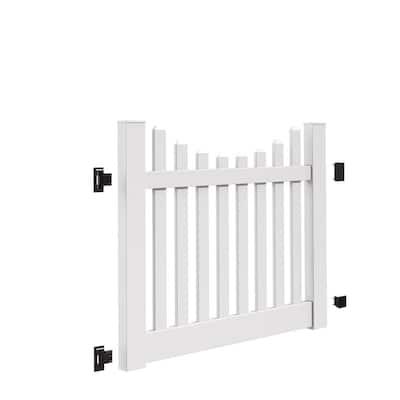 Kettle Scallop 5 ft. W x 4 ft. H White Vinyl Un-Assembled Fence Gate