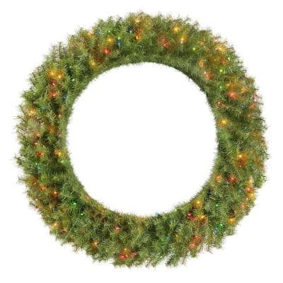 48 in. Dia Green Pre-Lit Incandescent Light Norwood Fir Artificial Christmas Wreath with 200-Lights