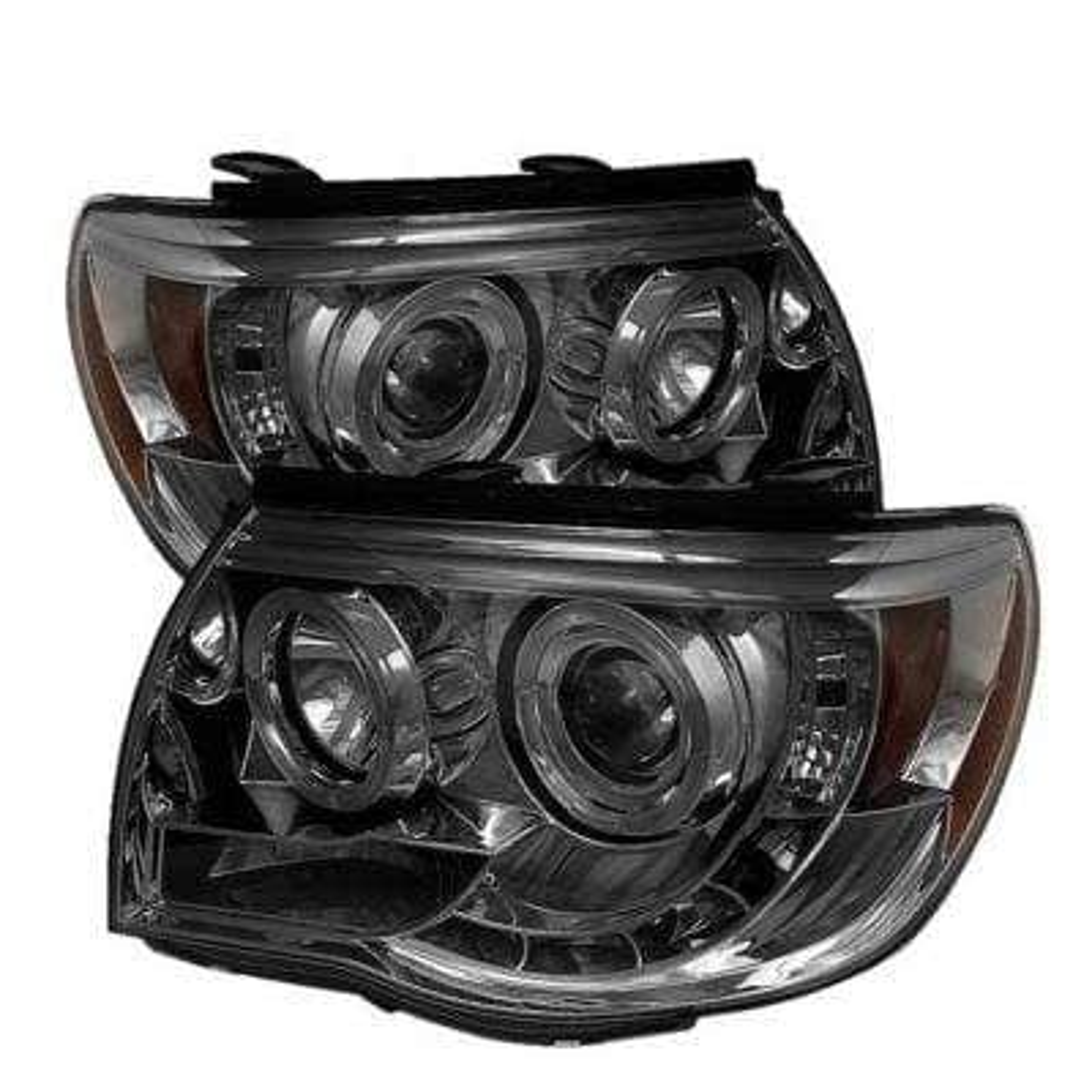 Toyota Tacoma 05-11 Projector Headlights - LED Halo - LED ( Replaceable LEDs ) - Smoke