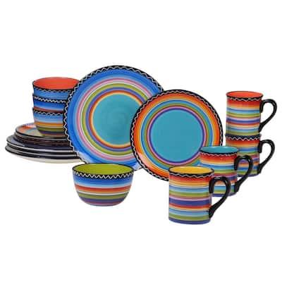 Tequila Sunrise 16-Piece Traditional Multi-color Ceramic Dinnerware Set (Service for 4)