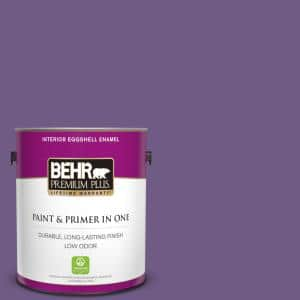 Behr Premium Plus 1 Gal 650b 7 Mystical Purple Eggshell Enamel Low Odor Interior Paint And Primer In One 230001 The Home Depot