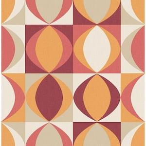 Archer Red Linen Geometric Red Wallpaper Sample