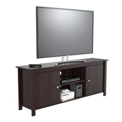 63 in. Espresso Wengue Wood TV Stand Fits TVs Up to 60 in. with Storage Doors