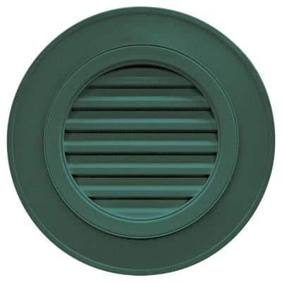 28 in. x 28 in. Round Green Plastic Built-in Screen Gable Louver Vent