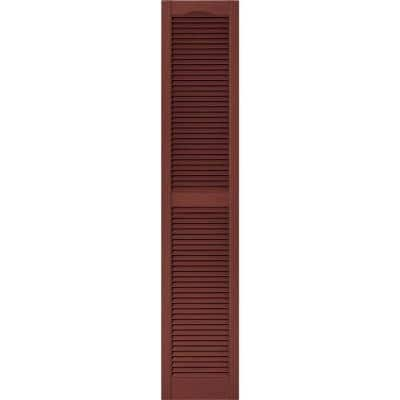 15 in. x 75 in. Louvered Vinyl Exterior Shutters Pair in #027 Burgundy Red