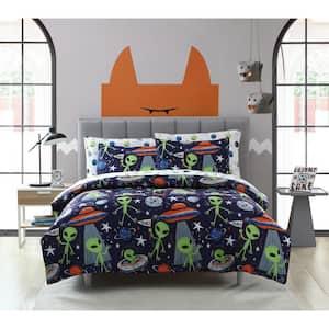 3-Piece Allan the Peace Alien Full Comforter Set