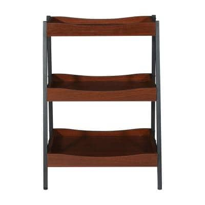 29.88 in. Black/Walnut Metal 3-shelf Accent Bookcase with Open Back
