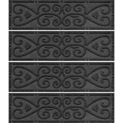 Scroll 8.5 in. x 30 in. Stair Treads (Set of 4) Charcoal