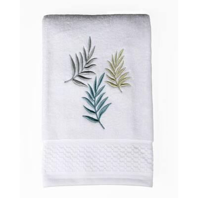 Ivory Floral Cotton Single Bath Towel
