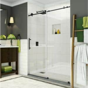 Coraline 56 in. to 60 in. x 76 in. Frameless Sliding Shower Door in Matte Black