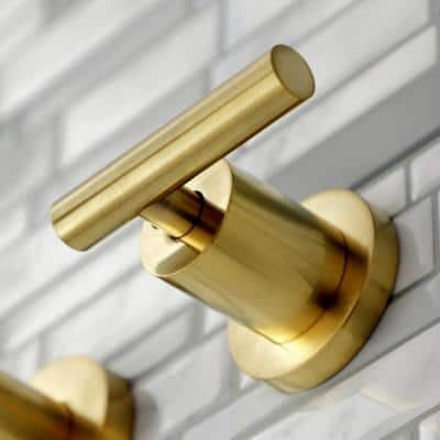 Manhattan 2-Handle Wall Mount Bathroom Faucet in Brushed Brass