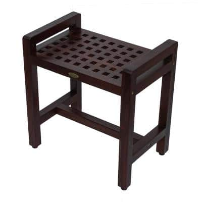 Espalier 20 in. Teak Lattice Shower Bench with LiftAid Arms