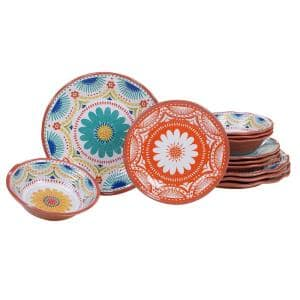 Vera Cruz 12-Piece Casual Multicolor Melamine Outdoor Dinnerware Set (Service for 4)