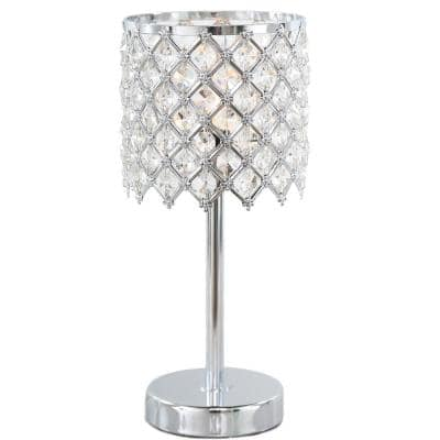 Crystal Glam 13.25 in. Clear Crystal Glass Accent Lamp