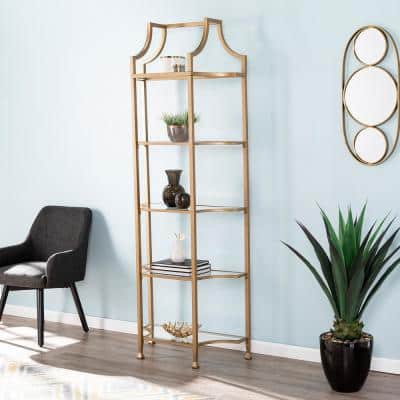 84.5 in. Gold Metal 5-shelf Etagere Bookcase with Open Back