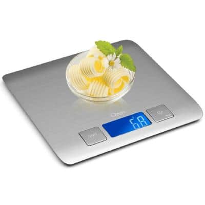 Zenith Digital Kitchen Scale in Refined Stainless Steel with Fingerprint Resistant Coating