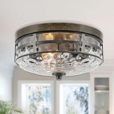 Modern Rustic Ceiling Light, Mateo 3- Light Rust Bronze Flush Mount Light With Watter Ripple Glass Shade