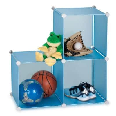 28 in. H x 28 in. W x 14 in. D Blue Plastic 3-Cube Storage Organizer