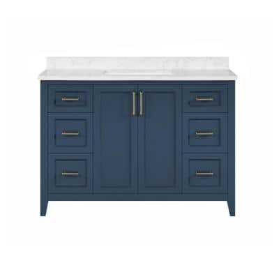Madsen 48 in. W x 22 in. D Bath Vanity in Grayish Blue with Cultured Marble Vanity in White with White Basin