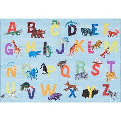 Elementary Zoo Alphabet Blue 4 ft. 11 in. x 6 ft. 6 in. Indoor Area Rug