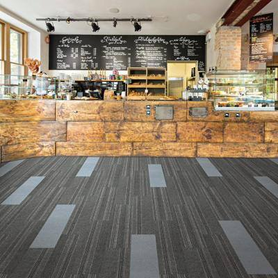 Peel and Stick Black Ice Barcode Planks 9 in. x 36 in. Commercial/Residential Carpet (16-tile / case)