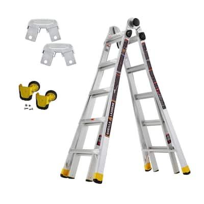 18 ft. Reach MPXA Multi-Position Ladder/MPX Wheel Kit/MPXA Rail Bracket Kit (Combo-Pack)