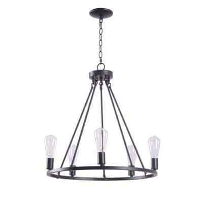 Stratton 5-Light Black Chandelier with No Shade