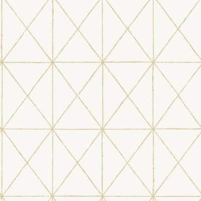 White & Gold Vinyl Peel & Stick Washable Wallpaper Roll (Covers 30.75 Sq. Ft.)