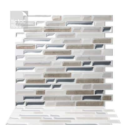 Como Pebble 10 in. W x 10 in. H Peel and Stick Self-Adhesive Decorative Mosaic Wall Tile Backsplash (10-Tiles)