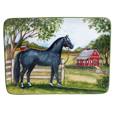 Clover Farm Rectangular 16 in. Multicolored Platter