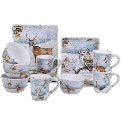 Winter's Lodge 16-Piece Seasonal Assorted Colors Ceramic Dinnerware Set (Service for 4)