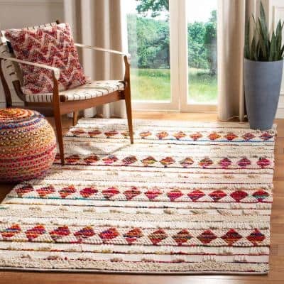 Natura Ivory/Red 9 ft. x 12 ft. Geometric Area Rug