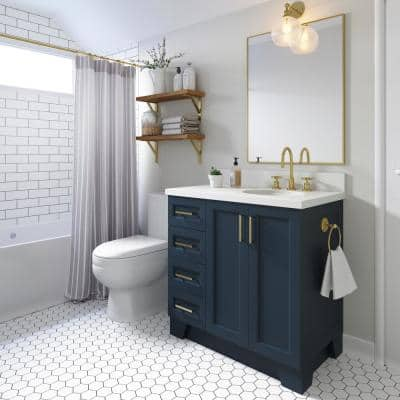 Taylor 37 in. W x 22 in. D Bath Vanity in Midnight Blue with Quartz Vanity Top in White with White Basin