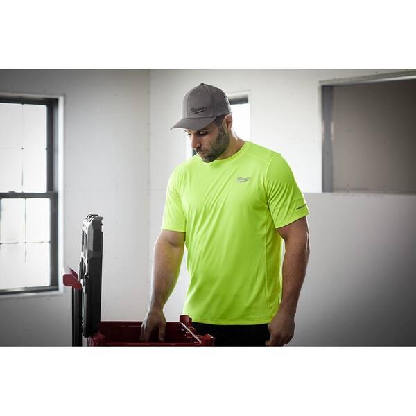 Milwaukee Men S Large Hi Vis Gen Ii Workskin Light Weight Performance Short Sleeve T Shirt 414hv L The Home Depot