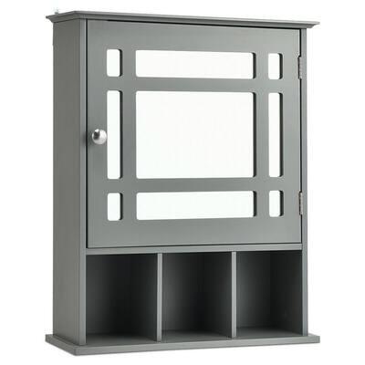 50 in. W Mirrored Medicine Wall Cabinet Bathroom Mounted Storage W/Adjustable Shelf Grey