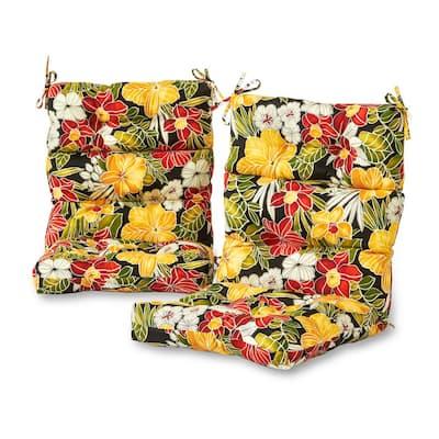 Aloha Black Outdoor High Back Dining Chair Cushion (2-Pack)