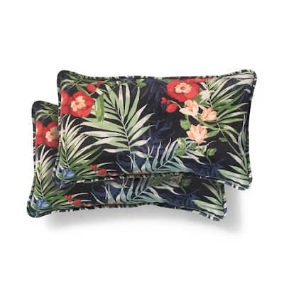 20 in. x 12 in. Black Tropical Outdoor Lumbar Pillow (2-Pack)