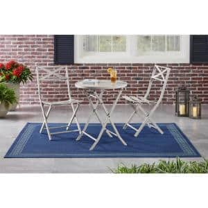 Mix and Match 3-Piece Folding Steel Slat Outdoor Bistro Set in Gray