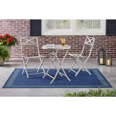 Mix and Match Shadow Gray Round Steel Folding Outdoor Bistro Table