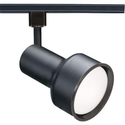 1-Light Black Step Cylinder Track Lighting Head