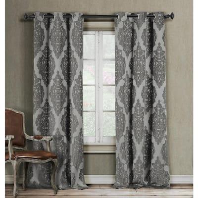 Grey Damask Grommet Room Darkening Curtain - 38 in. W x 84 in. L (Set of 2)