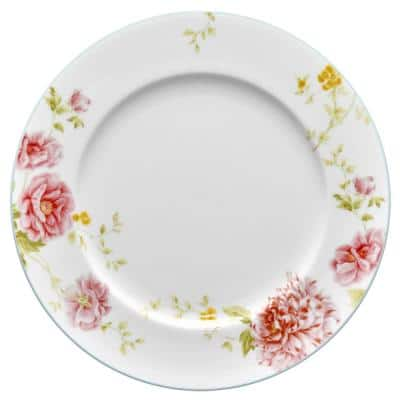 Peony Pageant White Bone China Dinner Plate 10-3/4 in.
