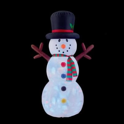 4.8 ft. W x 8 ft. H Snowman with Disco Lights Inflatable Airblown
