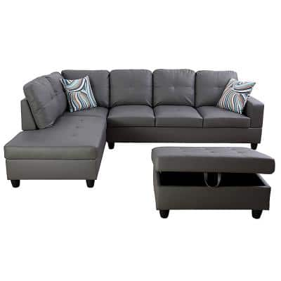 Living-3-Piece-Gray-Faux Leather-6 Seats-L-Shaped-Left Facing-Sectionals