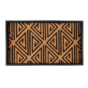 24.5 in. x 14 in. x 1.5 in. Natural & Recycled Rubber Boot Tray with Tan & Black Tribal Coir Insert