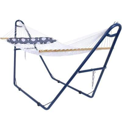 11 ft. L White 2-Person Spreader Bar Rope Hammock with Pillow and Blue Stand