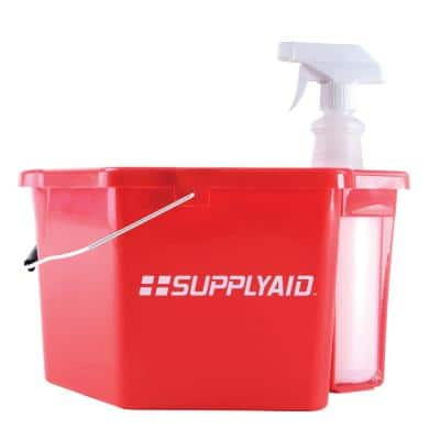 6 Qt. Heavy Duty Plastic, Corrosive-Resistant Sanitizing Bucket with 25 oz. Spray Bottle